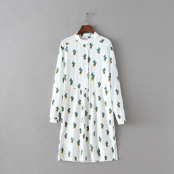 White Cactus Print Long Sleeve Collar Loose Pleated Dress