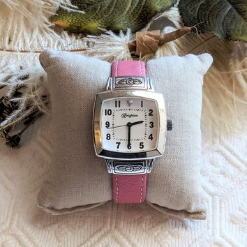 Retired Brighton Orchard Silver & Pink Leather Watch