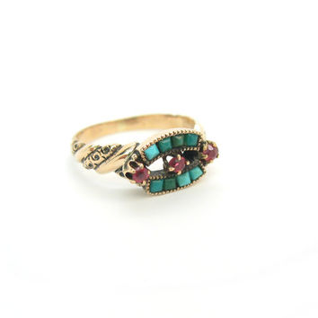 Antique Victorian 14K Gold Ring. Persian Turquoise & Garnet Ring. Natural Gemstones. 1890s to 1900s Antique Jewelry.  Size 5.75 plus.