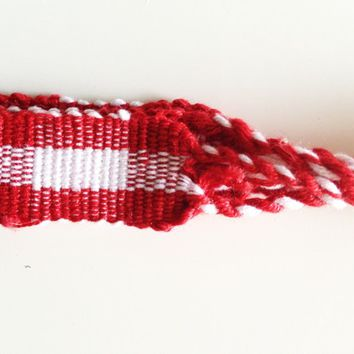 Hand Woven Bracelet Red Plaid