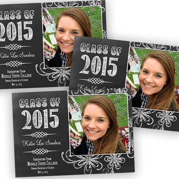 Printable Chalk Graduation Announcements - College Graduation Announcements - Graduation Announcement - Photo - Chalk