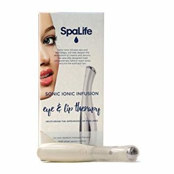 SpaLife Sonic Ionic Infusion Eye & Lip Therapy Massager Wand - Treatment Pen for Puffiness and Crow's...