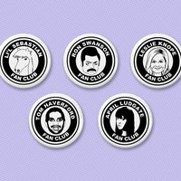 Parks and Recreation fan club button set