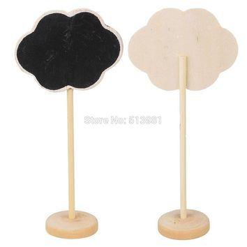 10pcs Clouds Shape Mini Blackboard Stick Stand Place Holder Chalkboard Wedding Table Number Sign Wedding Party Decor