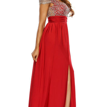 Amazing Gold Lace Overlay Red Slit Party Maxi Evening Dresses
