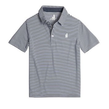Youth Bunker Striped Prep-Formance Polo in Midnight by Johnnie-O