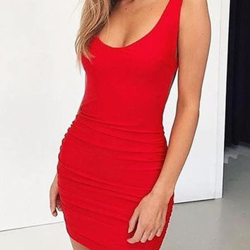Red Shoulder-Strap Plunging Neckline Backless Mini Dress