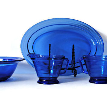 Hazel Atlas Moderntone Depression Glass Platter, Berry Bowl, Creamer & Sugar - (100.66)