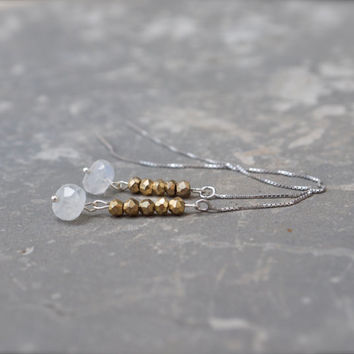 Moonstone and gold pyrite earrings Long thread earrings Rainbow Moonstone earring threaders Silver chain earrings Mixed metal Modern bridal