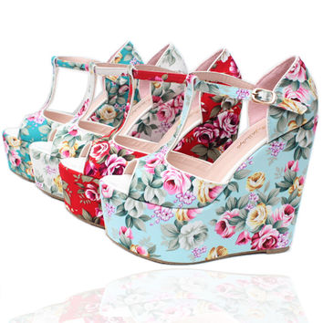 Wedge sandals leather flower print