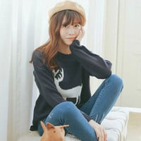 Sweet Deer Knitted Long Sleeve Pullover Sweater For Woman