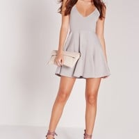 Missguided - Strappy Skater Dress Grey