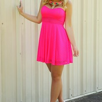 Not A Single Worry Dress: Neon Pink