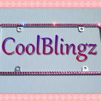 Thin HOT PINK Rhinestone Diamond Sparkle CRYSTAL License Plate Frame Bling made w/ Swarovski Elements Crystals