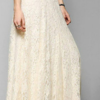 Womens Lace Layered Hitched Maxi Skirt A Line Boho Long Asymmetric Summer