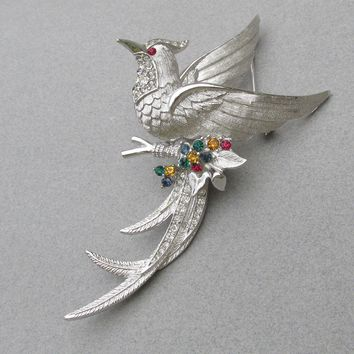 Magnificent Signed Marcel Boucher Silver Tone Multi-Color Rhinestone BIRD of Paradise 1960's Brooch
