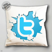 twitter logo  pillow case, cover ( 1 or 2 Side Print With Size 16, 18, 20, 26, 30, 36 inch )