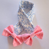DSLR Camera Strap Cover, Canon and Nikon Compatible Light Blue Damask with Pink Bow