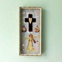 OOAK handmade Antique angel shadowbox shrine - The virgin suicides - crucifix