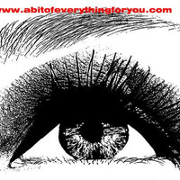 young womans eye looking up original art clip art png printable art digital download makeup beauty image graphics black and white artwork
