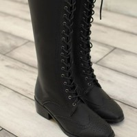 Oxford Black Matte Over The Leap Lace Up Boots from Moooh!!