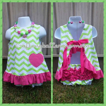 Baby Girl Swing Top Set - Pink and Green Chevron Outfit - Watermelon Baby Girl  Outfit - First Birthday Swing Top Set - Pink Chevron Outfit
