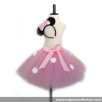 Pink Minnie Mouse Inspired Tutu with Ear Headband