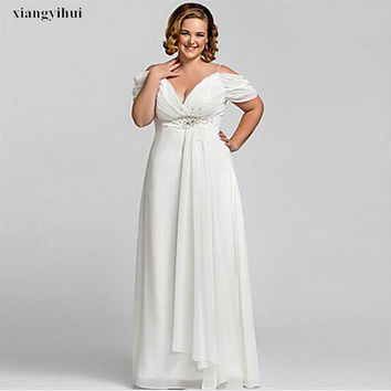 Plus Size Bridal Dress Exquisite Beaded Chiffon Short Sleeve Floor Length Empire Wedding Gowns Big Bride Competitive Price