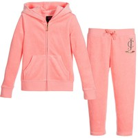 Girls Pink Cotton Velour Tracksuit