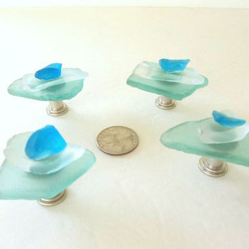 Beach Glass cabinet or drawer knobs, seaglass sea glass hardware, blue aqua turquoise green, beach coastal decor nautical decor pull