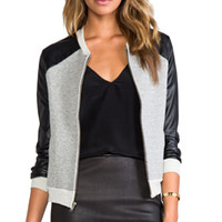 A Fine Line Brooke Bomber Jacket in Heather Grey/Leather from REVOLVEclothing.com