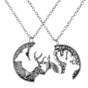 Custom engraved boyfriend girlfriend deer head heart hunting southern love buck doe his hers promise pendant necklace gift set