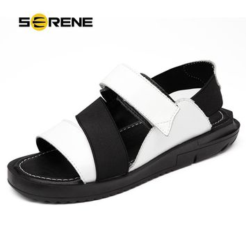 SERENE 2017 New Arrival Summer Cow Leather Black White Sandals Big Size 38-44 Flip Flops Wear-resistan Men Shoes Male Shoes 2172