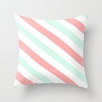 Mint and Coral Diagonal Stripes Throw Pillow by daniellebourland