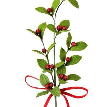 "Glittered Felt Christmas Leaves with Red Berries - 28"" Tall"