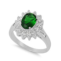 925 Sterling Silver CZ Sunshine Simulated Emerald Ring 13MM