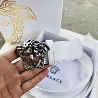 Versace Medusa buckle white Leather Men's Belt