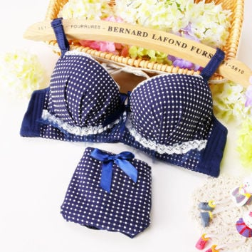 Blue Plaid Lace Bow Sweet Cute Lolita Lingerie Women Intimates Cotton Comfort Young Girl Underwear Soutien Push Up Bra Set N122