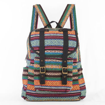 Tribal Backpack Aztec Mexican American Native Travel Bag (Black Trim)