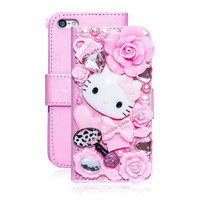 Cute 3D Bling Crystal Hello Kitty Flip Wallet Leather  Case For iphone 7 7plus 6 6S 6 plus 6s plus For iphone5 5S 5C Phone Cases