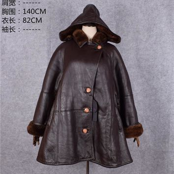 Clearance mother genuine sheepskin leather shearling cape coat woman's winter jackets wool lining with a hood brown xxxxxxl