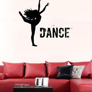 ik2218 Wall Decal Sticker silhouette of a girl dancing hall bedroom