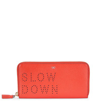 Flame Red Leather Slow Down Zip-Around Wallet