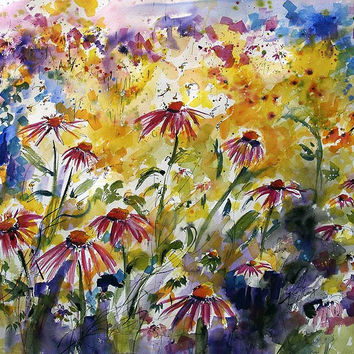 Wildflowers Watercolor ORIGINAL Summer Garden Flowers Ready to Hang