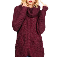 Cowl Cable Knit Sweater