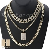 "MENS 14K GOLD PT DOG TAG ICED OUT MIAMI CUBAN 16""~30"" CHOKER TENNIS CHAIN S028"