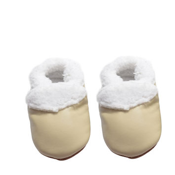 Cozy Toes- Winter Baby Moccasins (Beige)