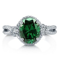 Oval Cut Emerald CZ 925 Sterling Silver Twin Shank Rope Ring 2.54 Ct #r726