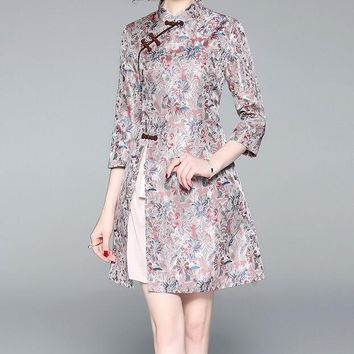 Jacquard Weave Floral Qipao Dress