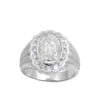 925 Sterling Silver CZ Virgin Mary Ring 20MM